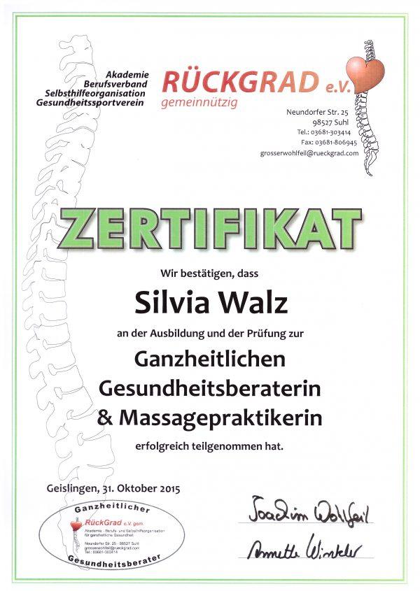 Gesundheitsberaterin & Massagepraktikerin Silvia Walz | Zertifikat Rückgrad e.V.