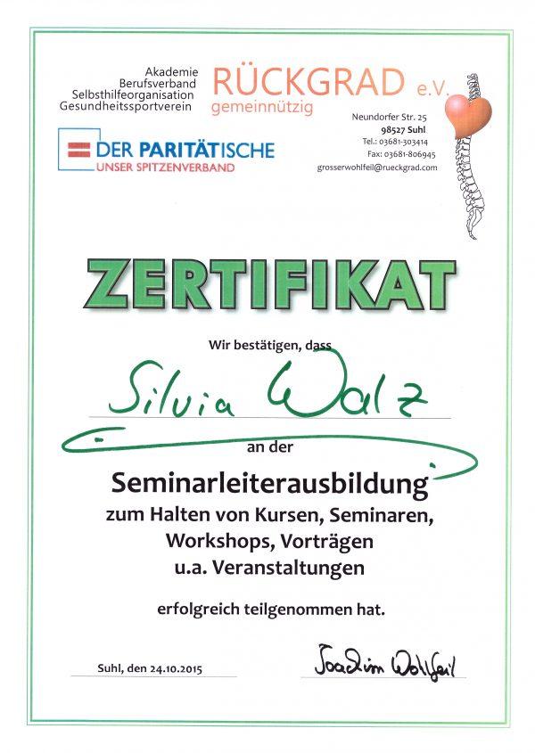 Silvia Walz | Ausbildung zur Seminarleiterin Zertifikat Rückgrad e.V.